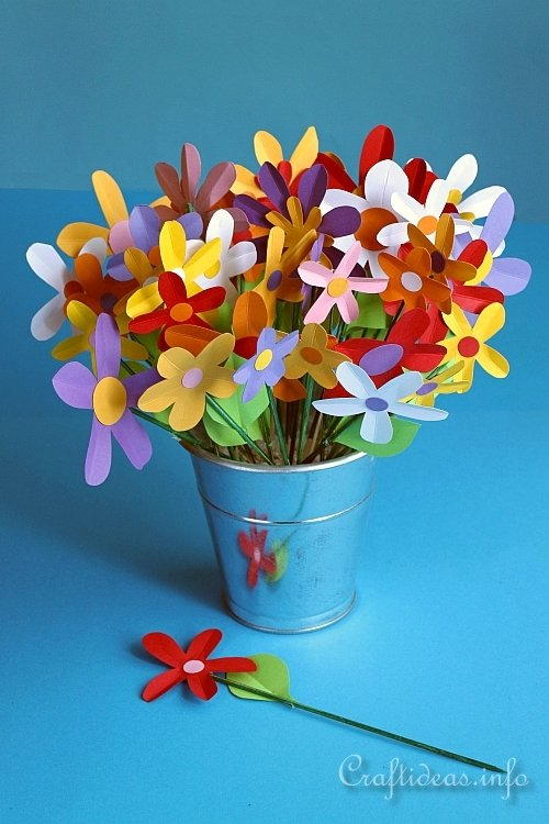 Colorful Paper Flowers Bouquet | AllFreeHolidayCrafts.com