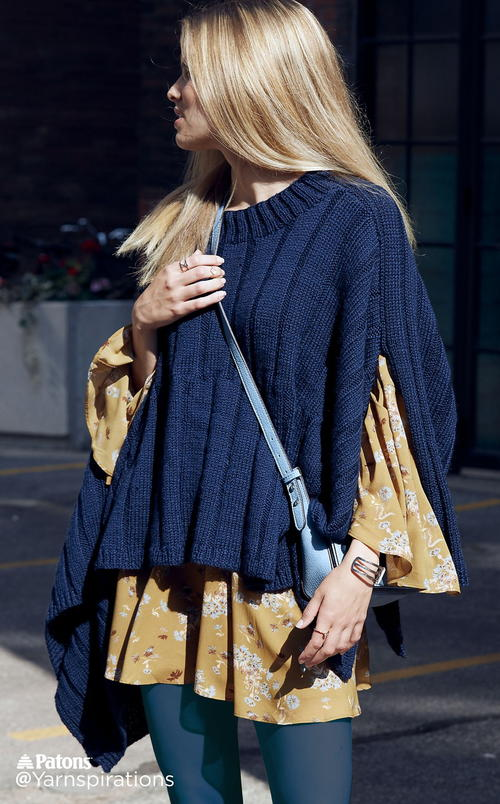 Reversible Ribbed Knit Poncho