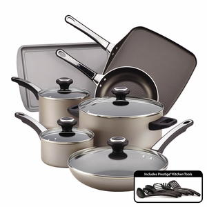 Farberware Nonstick 17-Piece Champagne Cookware Set Giveaway