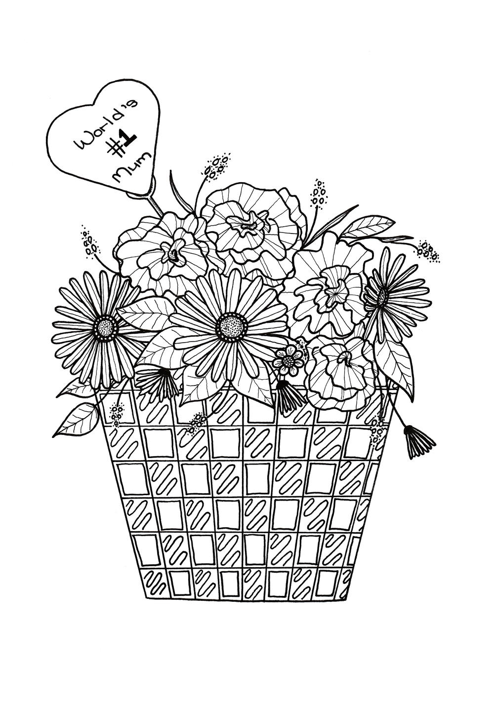 coloring pages of flowers for mom | Flower Basket Mother's Day Coloring Page | FaveCrafts.com