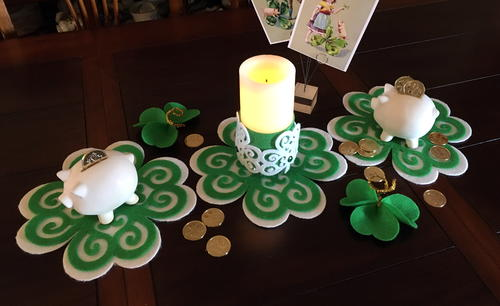 Felt Shamrock Place Mat and Candle Collar