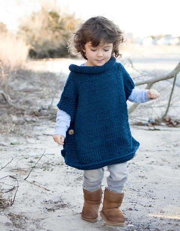 Petrol Blue Kid's Poncho
