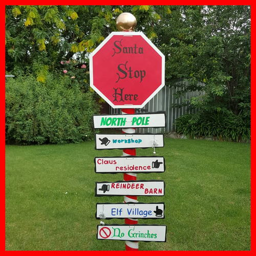 Santa Stop Here Sign Post