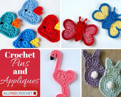 Crochet Applique Patterns and Crochet Pins | AllFreeCrochet.com
