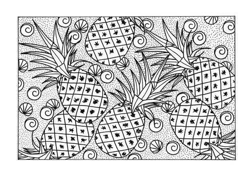Abundance Of Pineapples Adult Coloring Page Favecrafts Com