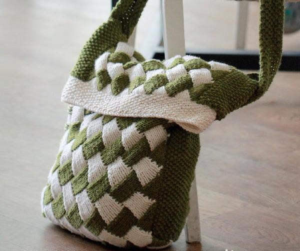 Entrelac Messenger Bag Allfreeknitting
