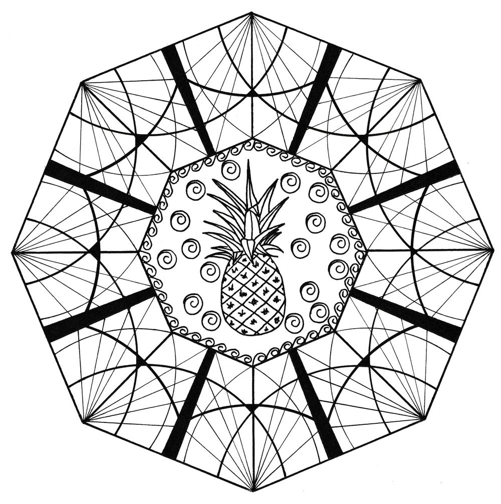 Mind-Boggling Pineapple Adult Coloring Page | FaveCrafts.com