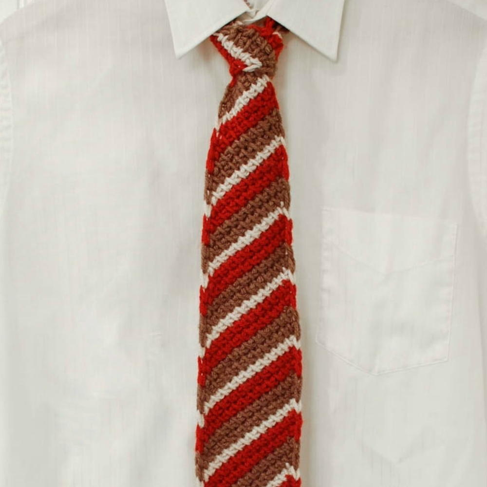 Tunisian Striped Tie | AllFreeCrochet.com