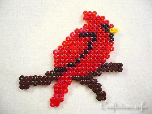 Melting Beads/ Perler Beads Cardinal Ornament
