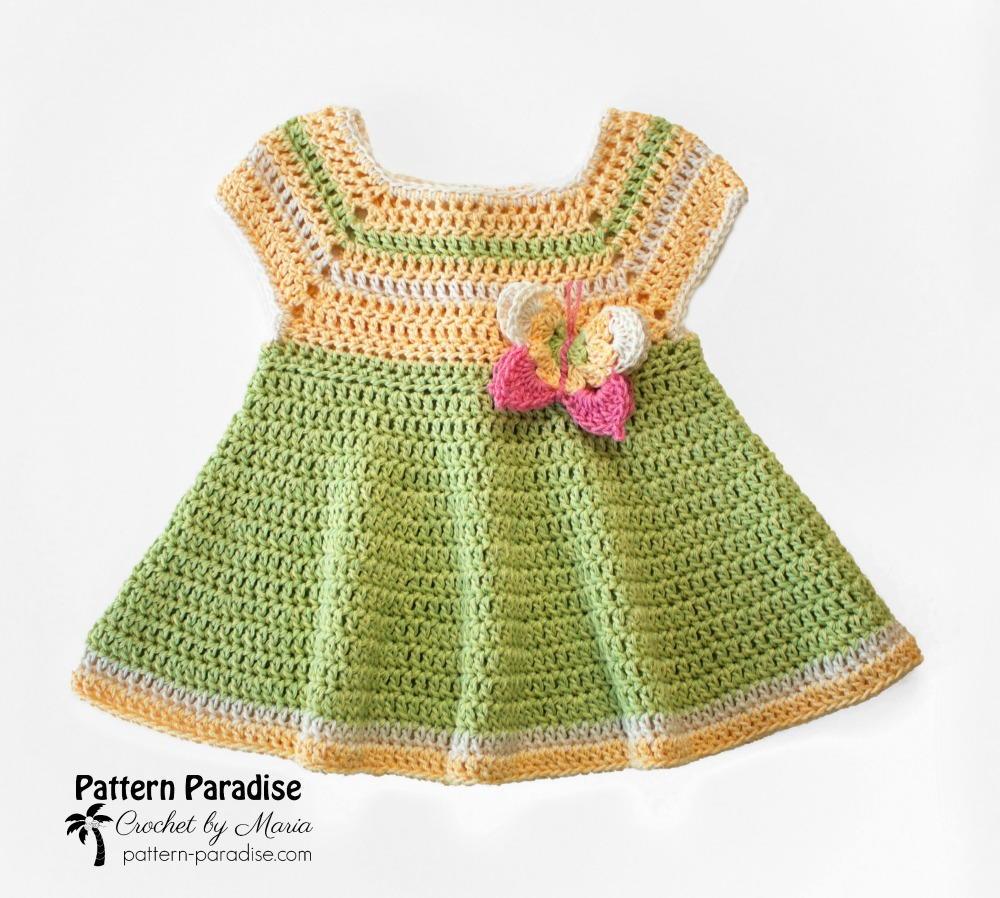 Butterfly Kisses Baby Dress | AllFreeCrochet.com