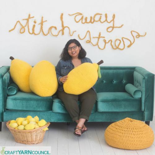 #StitchAwayStress Lemon Pillow
