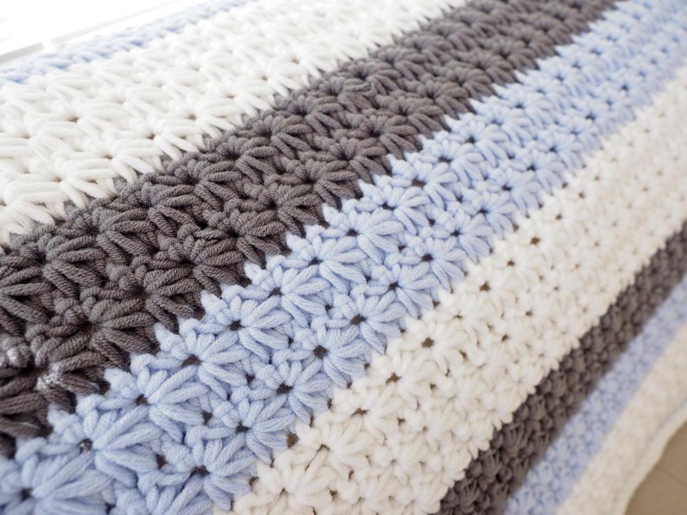 Star Stitch Striped Baby Blanket Allfreecrochet