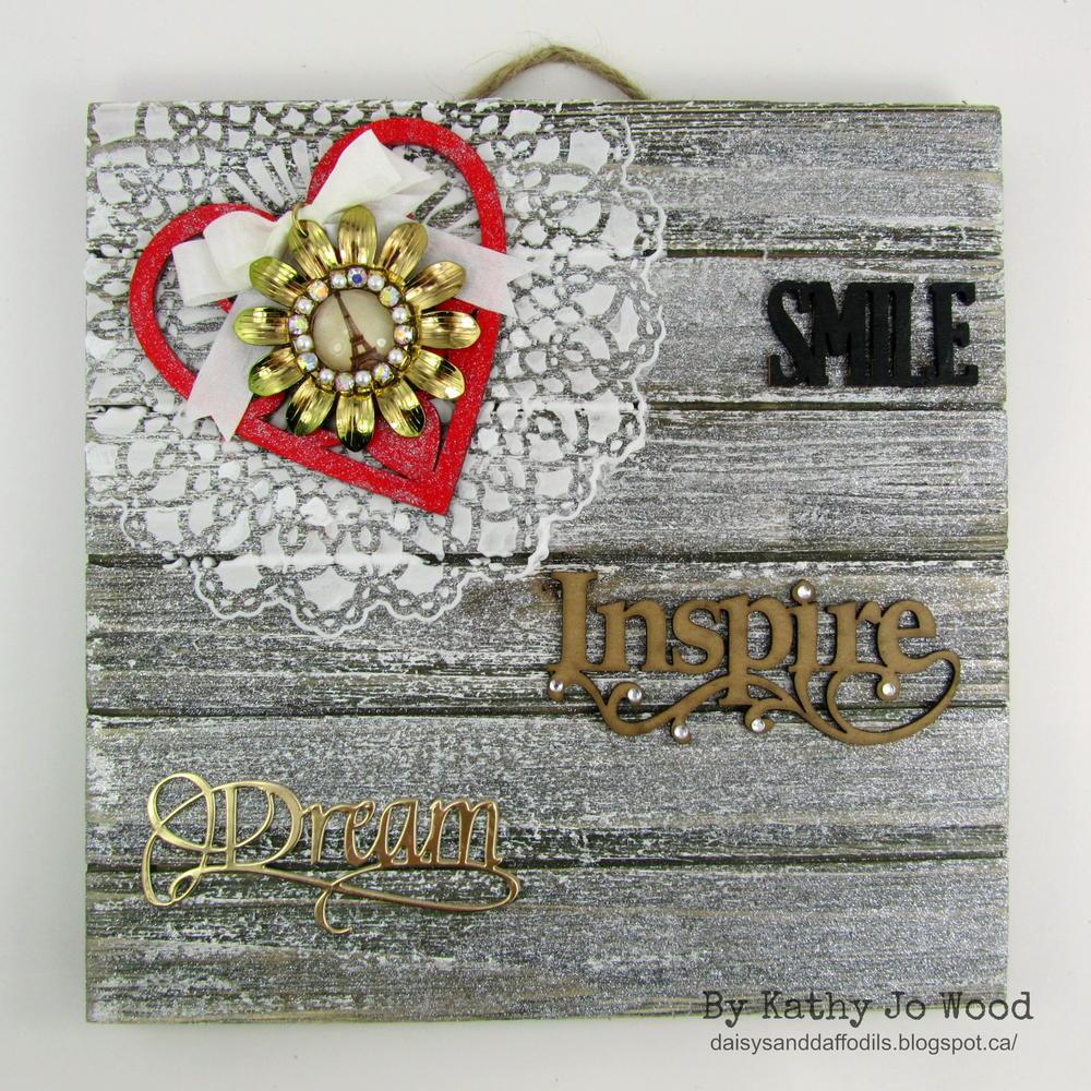 """Smile Inspire Dream"" Shimmery Wooden Wall Art"