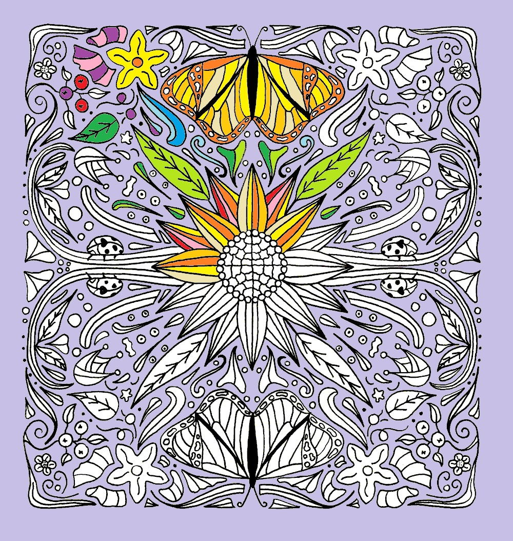 Sunflower and Butterflies Mandala Coloring Page   FaveCrafts.com