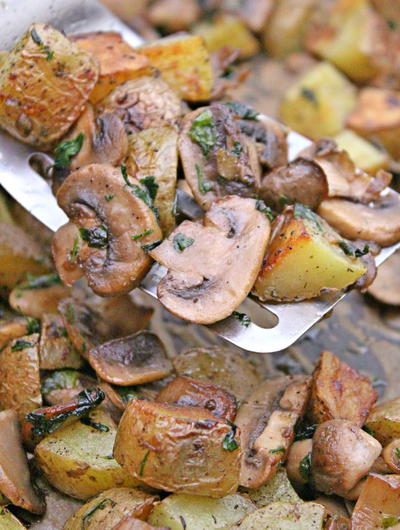Roasted Potatoes and Mushrooms