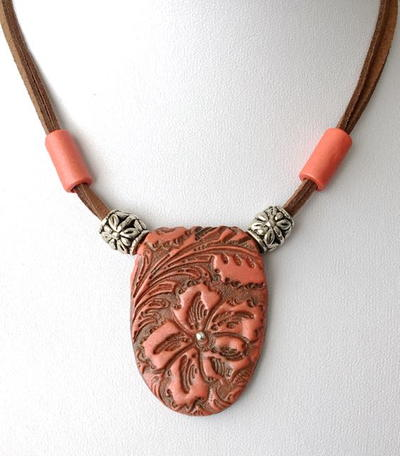 Orange Flower Cord Necklace