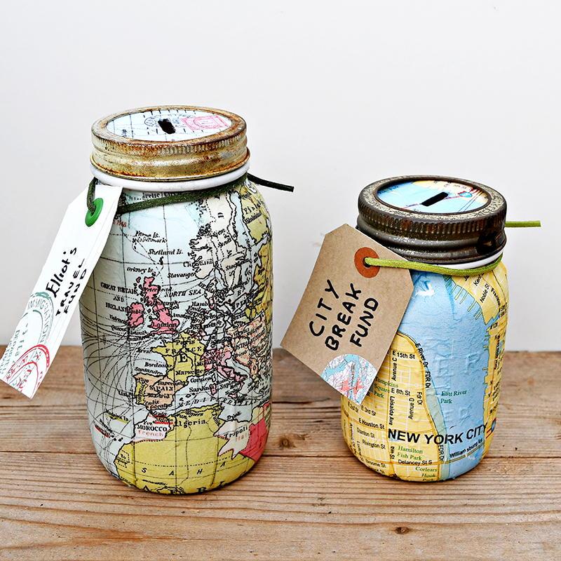 Repurposed Map Mason Jar Banks