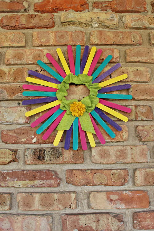 DIY Spring Wreath with Craft Sticks