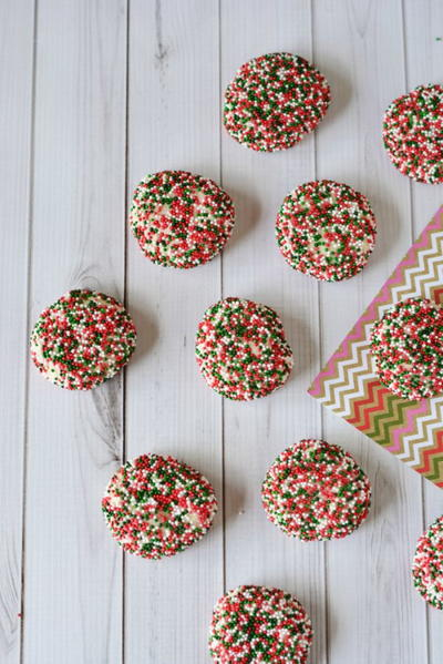 Christmas Shortbread Cookies Recipe with Sprinkles