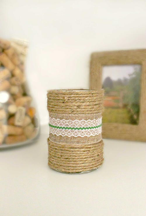 Decorated Candles with Burlap Ribbon & Twine