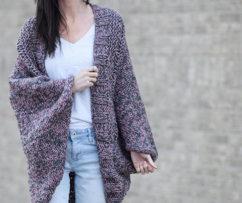Easy Marled Knit Cardigan   AllFreeKnitting.com