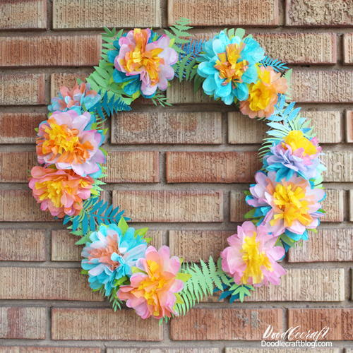 Tropical Coffee Filter Flower DIY Wreath