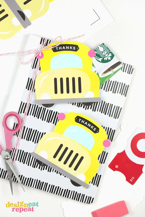 School Bus Printable Gift Card Holders