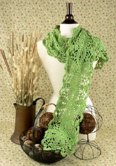 Dainty Green Scarf Allfreecrochet
