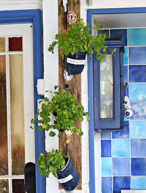 Cool Upcycled Denim Indoor Herb Garden
