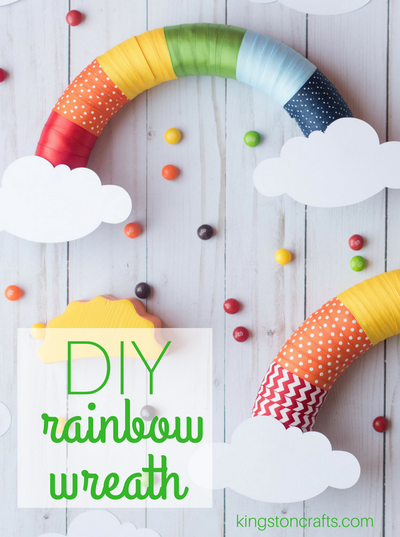 DIY Rainbow Ribbon Wreath