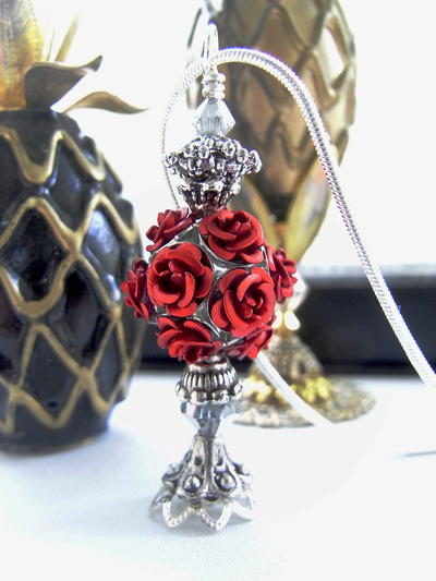 Rose Cluster Faux Perfume Bottle Necklace