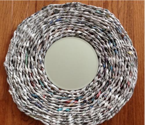 DIY Newspaper Mirror Frame | FaveCrafts.com