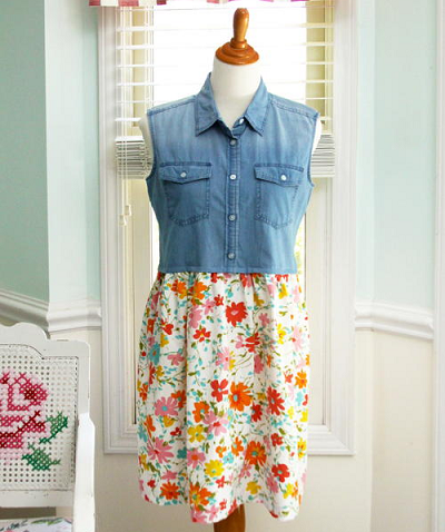Denim Shirt Dress Upcycling Project