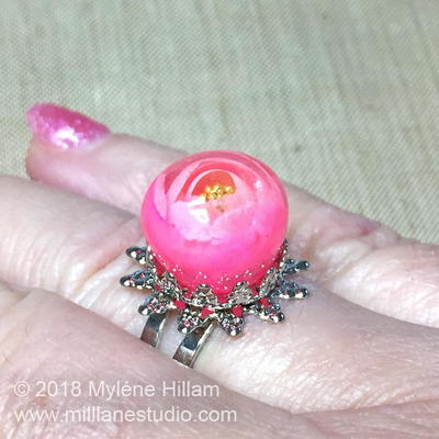 Resin Rose Bubble Ring