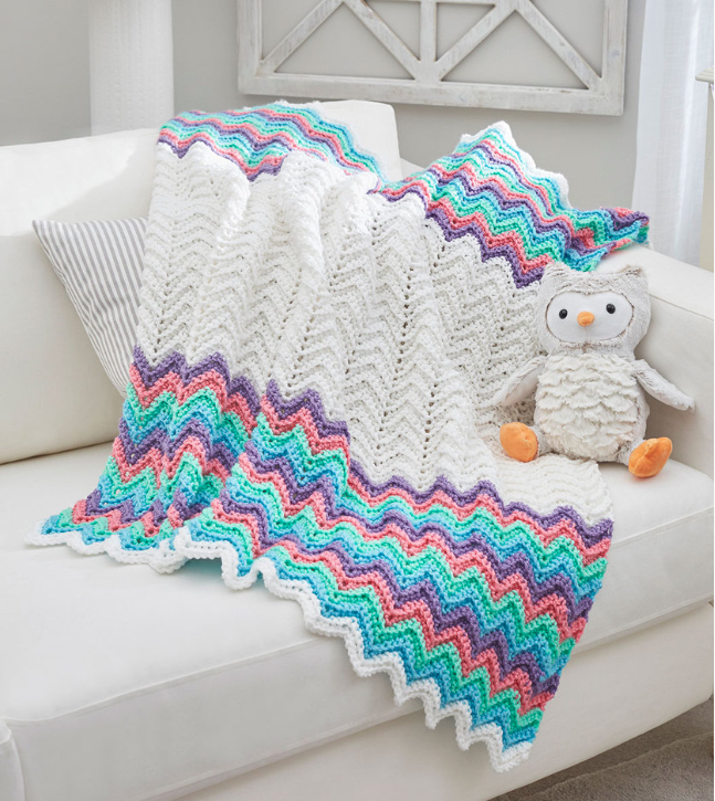 Rainbow Ripple Crochet Blanket Pattern | FaveCrafts.com