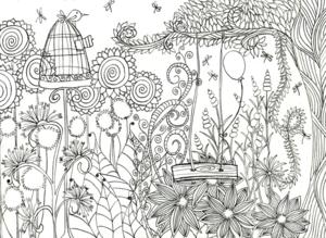Magical Flower Garden Coloring Page | FaveCrafts.com