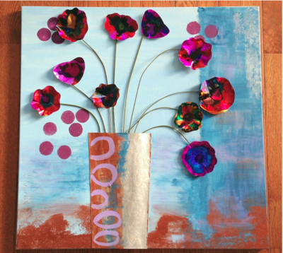 Recycled Soda Can Flowers Wall Art
