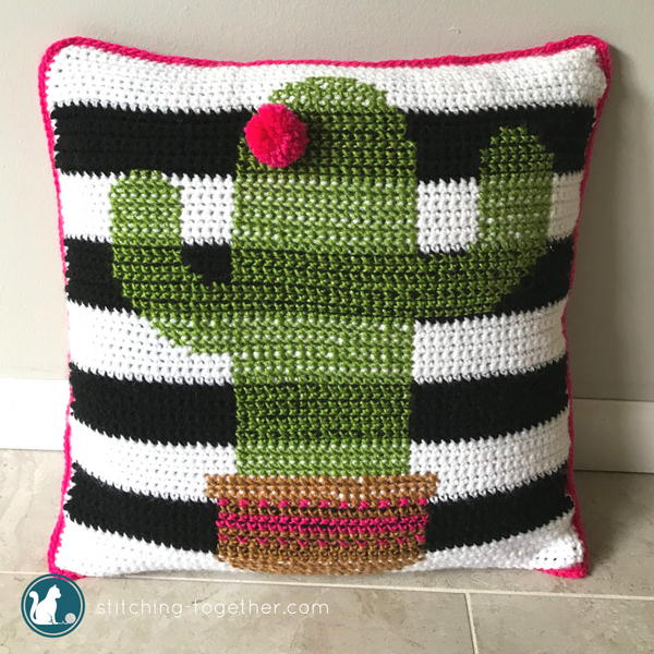 Crochet Cactus Pillow Cover
