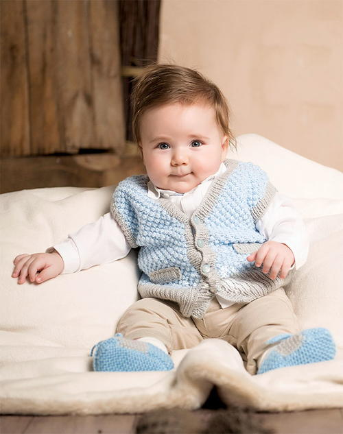 Knitted Vest and Booties Pattern for Babies