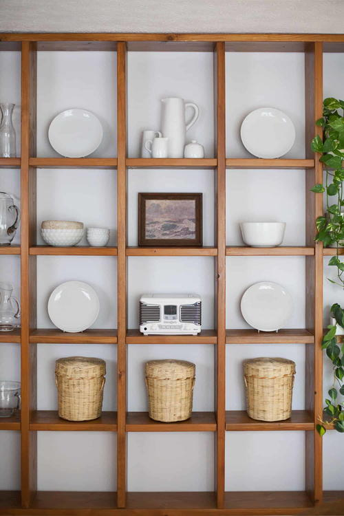 DIY Wooden Shelving Wall