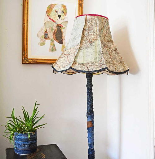 Upcycled Denim and RoadMap Floor Lamp