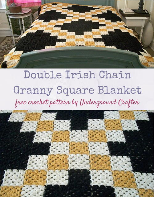 Double Irish Chain Granny Square Blanket
