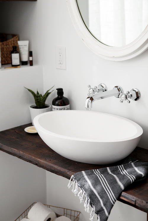 DIY Floating Shelf Bathroom Vanity | DIYIdeaCenter.com