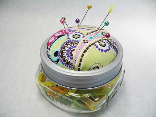 Canning Jar Pin Cushion or Treasure Jar