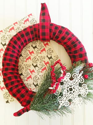 Rustic Plaid DIY Christmas Wreath