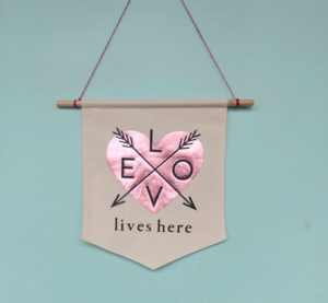 Love Lives Here Foil Applique DIY Banner