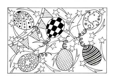 Patriotic Celebration Adult Coloring Page
