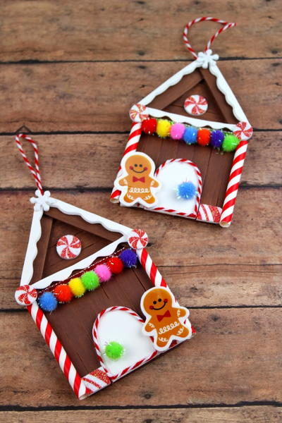 Popsicle Stick Gingerbread House Homemade Ornaments