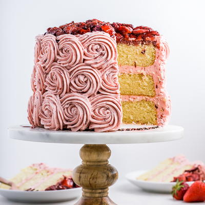 Vanilla Bean Cake with Balsamic Roasted Strawberry Buttercream