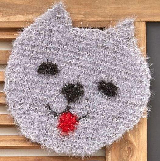 Knitted Cat Face Scrubby